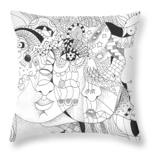 Kindness Throw Pillow featuring the drawing Looking For Kindness by Helena Tiainen