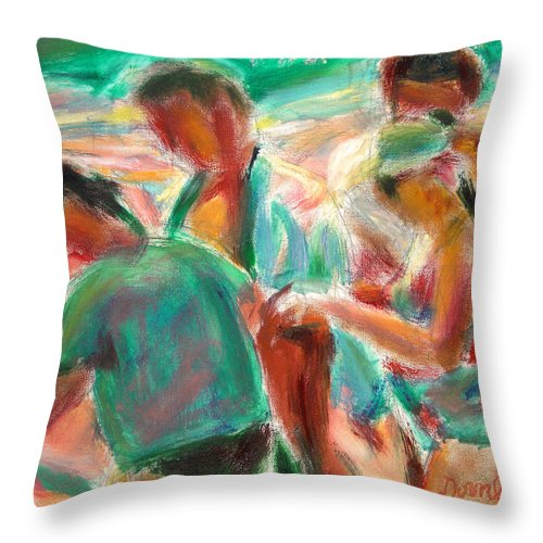 Dornberg Throw Pillow featuring the painting Looking For Shells by Bob Dornberg
