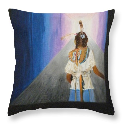 Abstract Throw Pillow featuring the pastel Looking For The Light by Andrea Inostroza