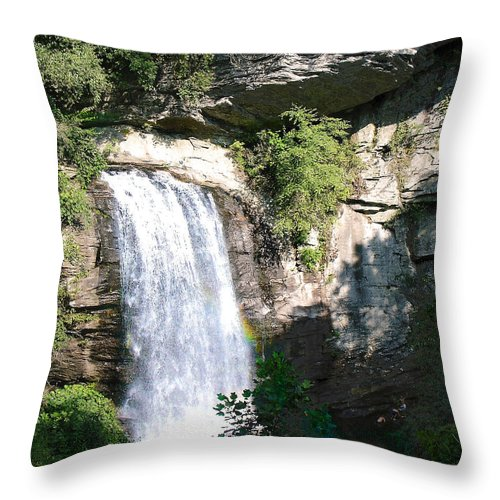 Landscape Throw Pillow featuring the photograph Looking Glass Falls Nc by Steve Karol