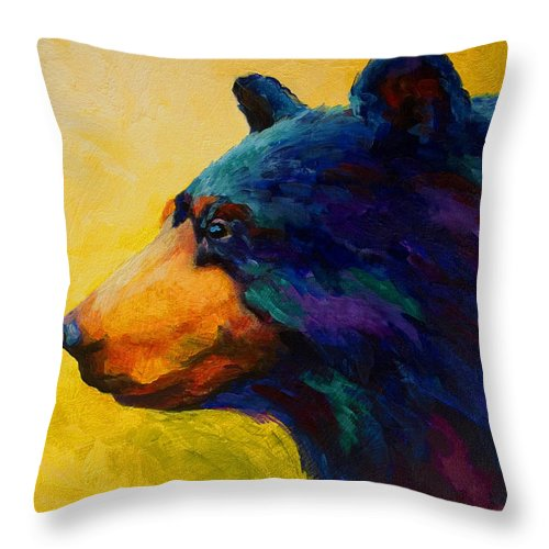 Bear Throw Pillow featuring the painting Looking On II - Black Bear by Marion Rose
