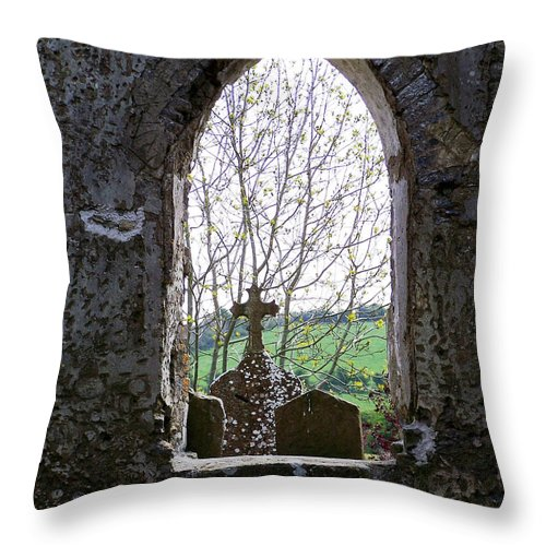 Ireland Throw Pillow featuring the photograph Looking Out Fuerty Church Roscommon Ireland by Teresa Mucha