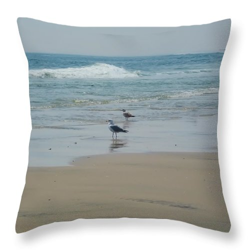 Beach Throw Pillow featuring the photograph Looking Out Into The Sea by Bill Cannon