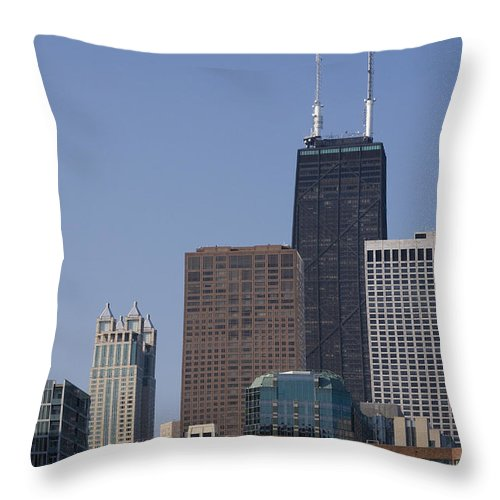 Chicago Windy City Building Skyscraper Tall Big High Metro Urban John Hancock Tower Center Throw Pillow featuring the photograph Looking Over by Andrei Shliakhau