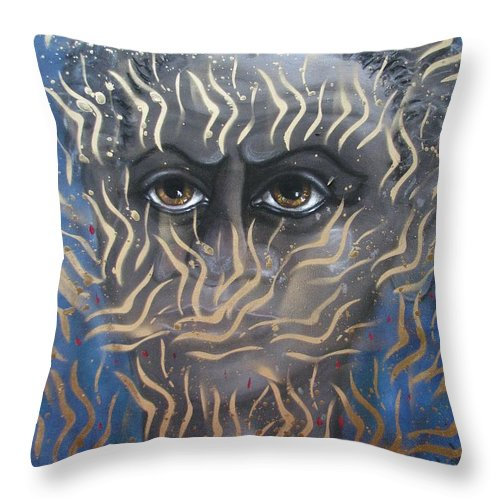 Man Throw Pillow featuring the painting Looking Through Fire by Joan Stratton