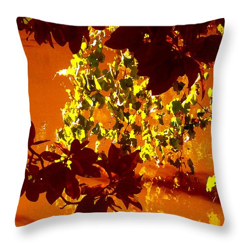 Landscapes Throw Pillow featuring the painting Looking Through Leaves Into Pond by Amy Vangsgard