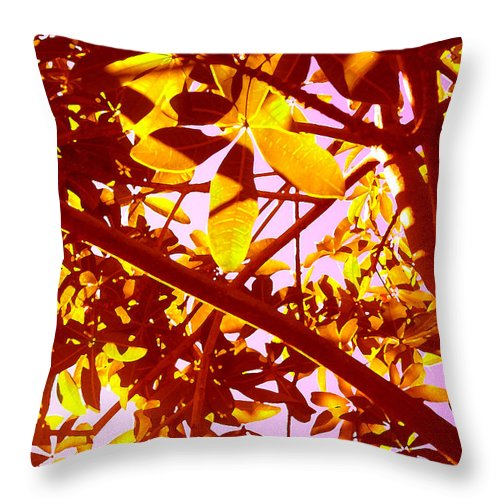 Garden Throw Pillow featuring the painting Looking Through Tree Leaves 2 by Amy Vangsgard