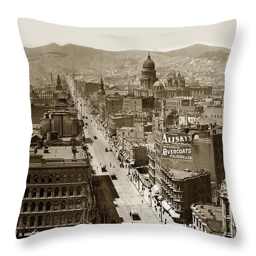 San Francisco Throw Pillow featuring the photograph Looking Up Market Street From The Call Building With City Hall Circa 1900 by California Views Archives Mr Pat Hathaway Archives