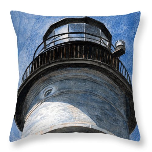 Lighthouse Throw Pillow featuring the painting Looking Up Portland Head Light by Dominic White