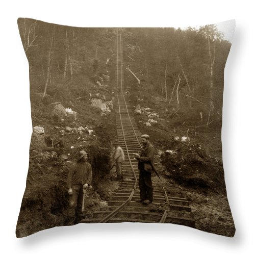 Men Throw Pillow featuring the photograph Looking Up Tramway At Heney H. C. Barley Photo Circa 1898 by California Views Archives Mr Pat Hathaway Archives