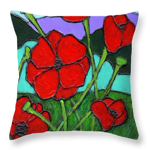 Poppies Throw Pillow featuring the painting Looking Up by Wayne Potrafka