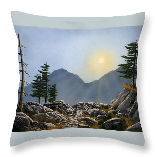 Landscape Throw Pillow featuring the painting Lookout Rock by Frank Wilson