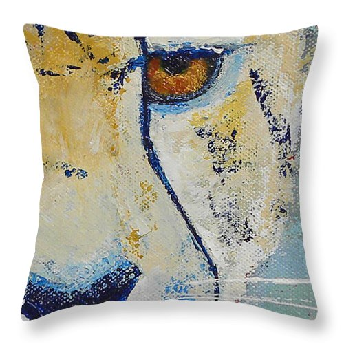 Cheetah Throw Pillow featuring the painting Looks Can Be Deceiving Close-up by Karen Macek