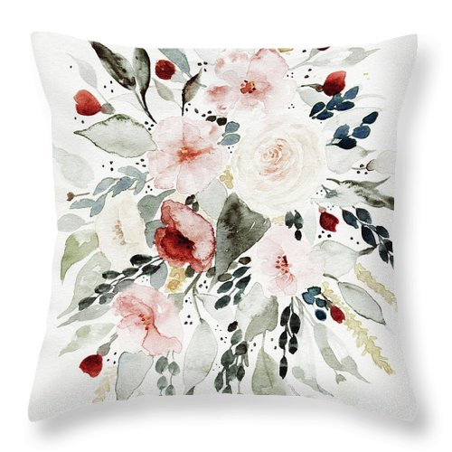 Florals Throw Pillow featuring the painting Loose Florals by Shealeen Louise