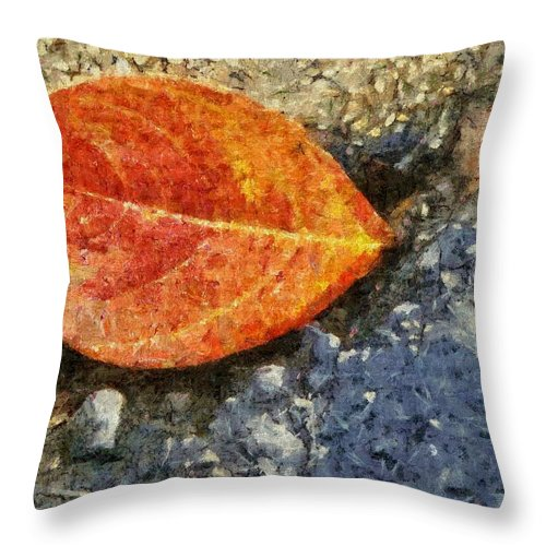Asphalt Throw Pillow featuring the painting Loose Leaf by Jeffrey Kolker