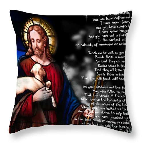 Jesus Throw Pillow featuring the digital art Lord Of The 23rd Psalm by Belinda Rose