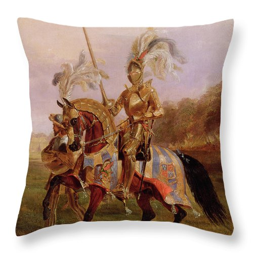 Eglinton Throw Pillow featuring the painting Lord Of The Tournament by Edward Henry Corbould
