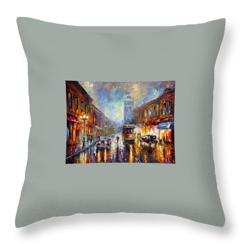 Afremov Throw Pillow featuring the painting Los Angeles 1920 by Leonid Afremov