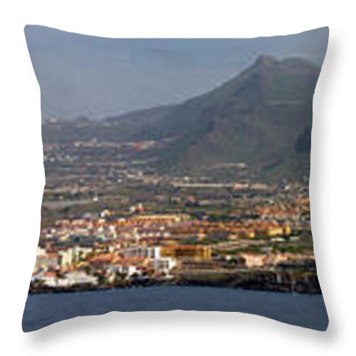 Valasretki Throw Pillow featuring the photograph Los Gigantes Panorama 1 by Jouko Lehto