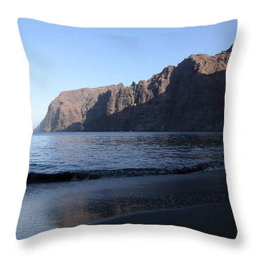 Seascape Throw Pillow featuring the photograph Los Gigantes Yacht by Phil Crean