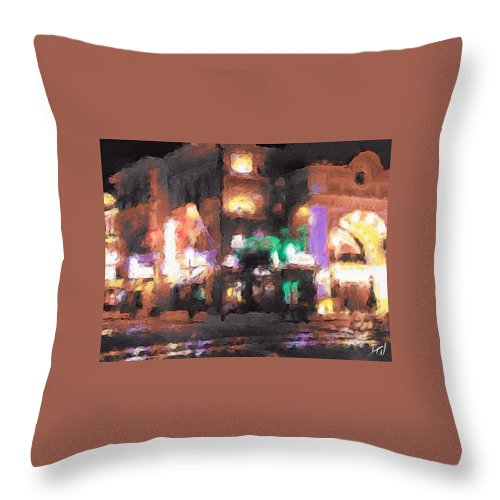 Arcade Street Universal Landscape Noir Glow Distortion Lights City Town Urban Throw Pillow featuring the painting Lost Arcade by J Wagner