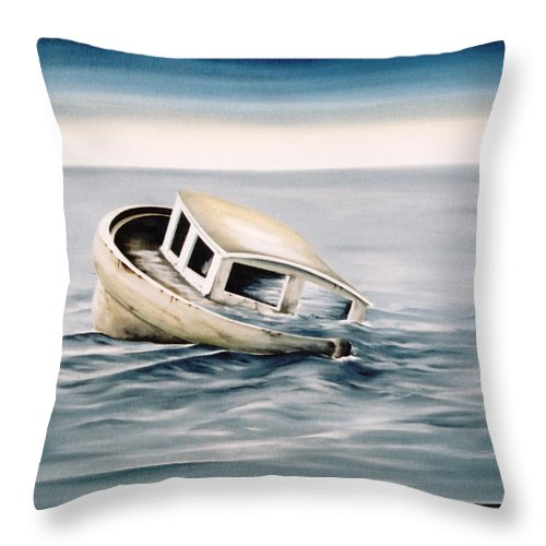 Seascape Throw Pillow featuring the painting Lost At Sea Contd by Mark Cawood