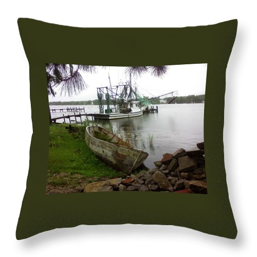 Boat Throw Pillow featuring the photograph Lost Boat by Patricia Caldwell