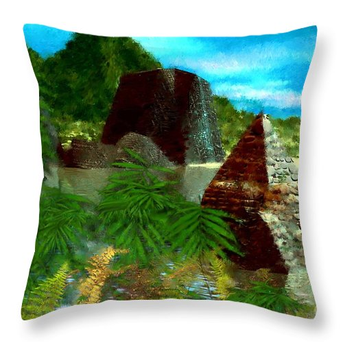 Digital Fantasy Painting Throw Pillow featuring the digital art Lost City by David Lane