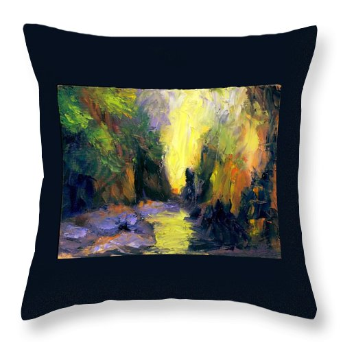 Landscape Throw Pillow featuring the painting Lost Creek by Gail Kirtz