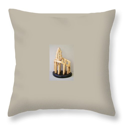 Wood-carving-sculpture-abstract- Throw Pillow featuring the sculpture Lost Glory by Norbert Bauwens