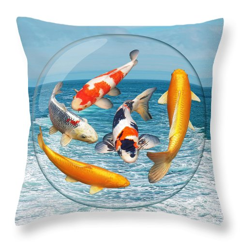 Koi Throw Pillow featuring the photograph Lost In A Daydream - Fish Out Of Water by Gill Billington