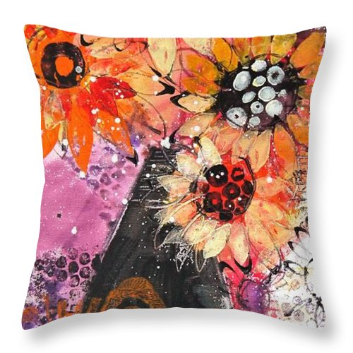 Flowers Throw Pillow featuring the painting Lost In A Moment by Irina Rumyantseva