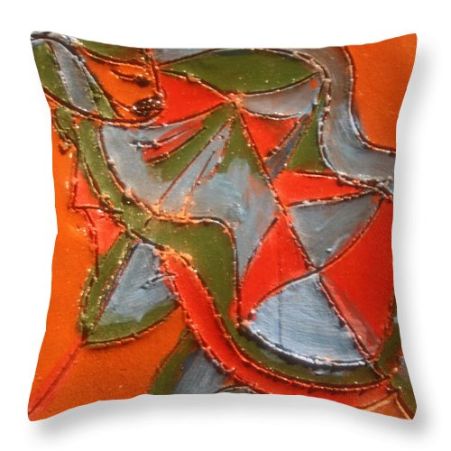 Jesus Throw Pillow featuring the ceramic art Lost In Puzzle - Tile by Gloria Ssali