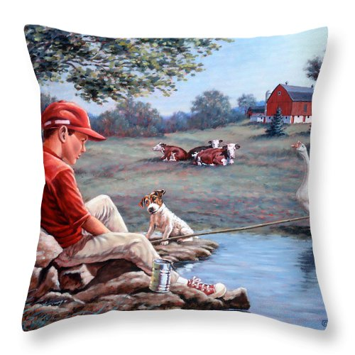 Boy Fishing Throw Pillow featuring the painting Lost In Thought by Richard De Wolfe