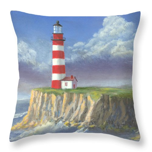 Light Throw Pillow featuring the painting Lost Point Light by Jerry McElroy