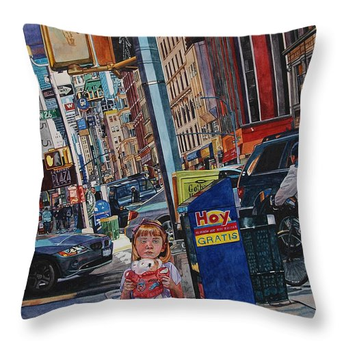 City Throw Pillow featuring the painting Lost by Valerie Patterson