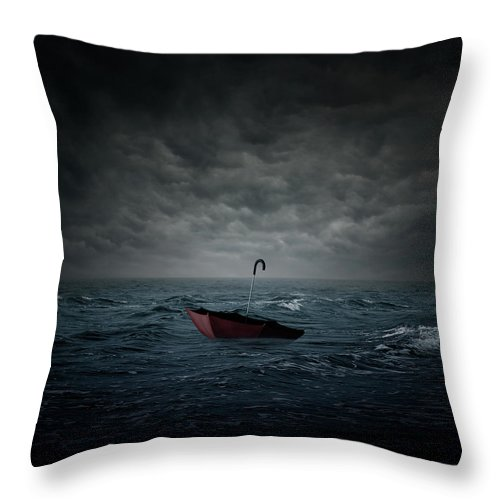 Cloud Throw Pillow featuring the digital art Lost by Zoltan Toth