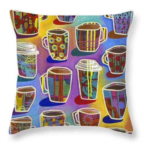 Latte Throw Pillow featuring the painting Lots Of Lattes by Carla Bank