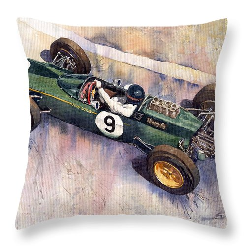 Watercolour Throw Pillow featuring the painting Lotus 25 F1 Jim Clark Monaco Gp 1963 by Yuriy Shevchuk