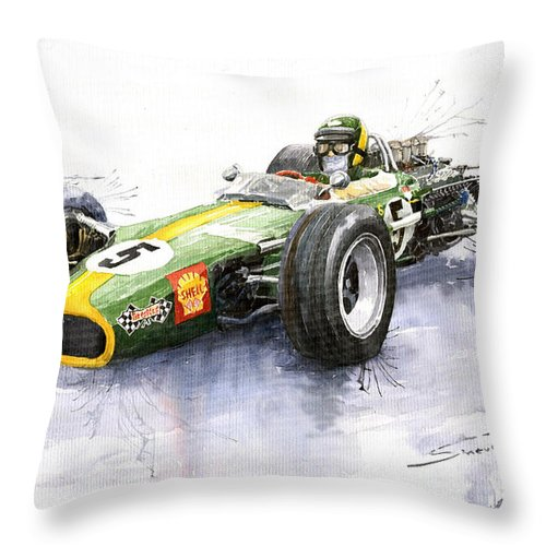 Watercolour Throw Pillow featuring the painting Lotus 49 Ford F1 Jim Clark by Yuriy Shevchuk