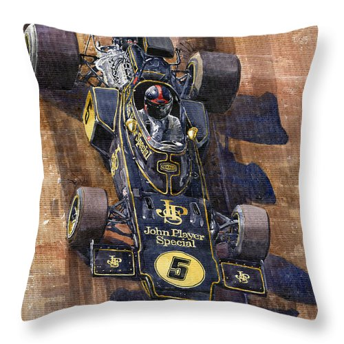 Watercolour Throw Pillow featuring the painting Lotus 72 Canadian Gp 1972 Emerson Fittipaldi by Yuriy Shevchuk
