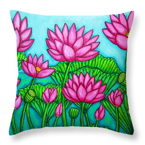 Lotus Throw Pillow featuring the painting Lotus Bliss II by Lisa Lorenz