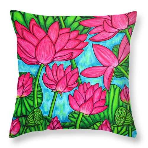 Throw Pillow featuring the painting Lotus Bliss by Lisa Lorenz