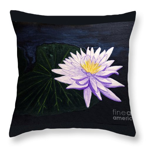 Original Painting Throw Pillow featuring the painting Lotus Blossom At Night by Patricia Griffin Brett