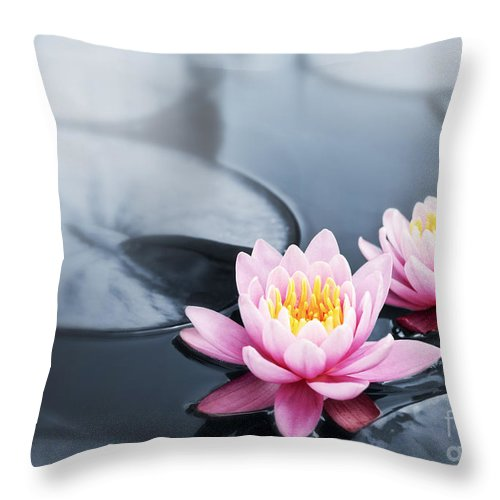 Blossoms Throw Pillow featuring the photograph Lotus Blossoms by Elena Elisseeva