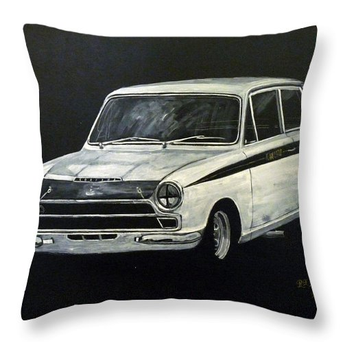 Lotus Cortina Throw Pillow featuring the painting Lotus Cortina by Richard Le Page