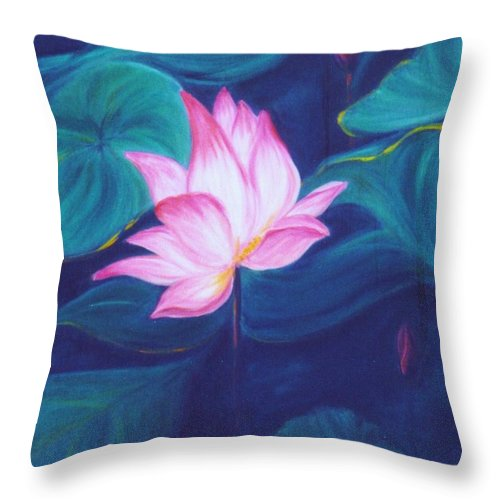 Floral Throw Pillow featuring the painting Lotus by Dina Holland
