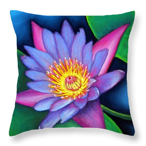 Flower Throw Pillow featuring the painting Lotus Divine by Minaz Jantz