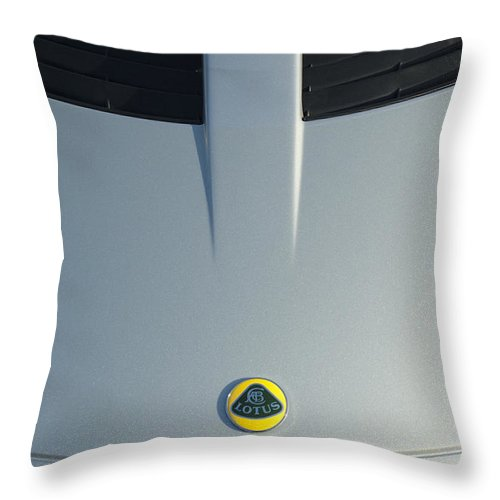 Lotus Elise Throw Pillow featuring the photograph Lotus Elise Hood Emblem 2 by Jill Reger