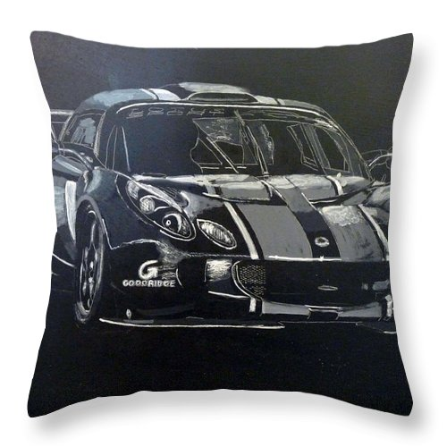 Lotus Exige Gt3 Throw Pillow featuring the painting Lotus Exige Gt3 by Richard Le Page